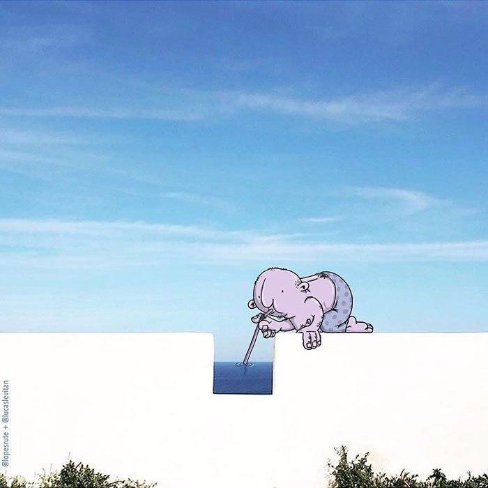 Художник добавляет забавные иллюстрации в чужие instagram-фотографии