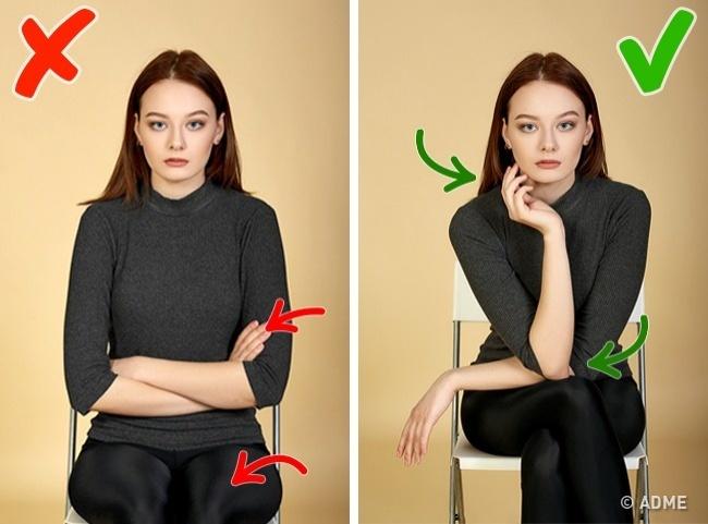 Проблема: при съемке сидя часто возникает проблема, куда девать руки. Опятьже скрещенные нагруди р
