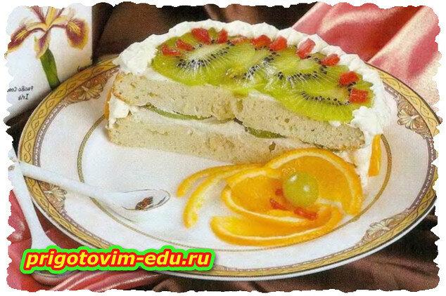 Торт с киви и апельсином в СВЧ -печи