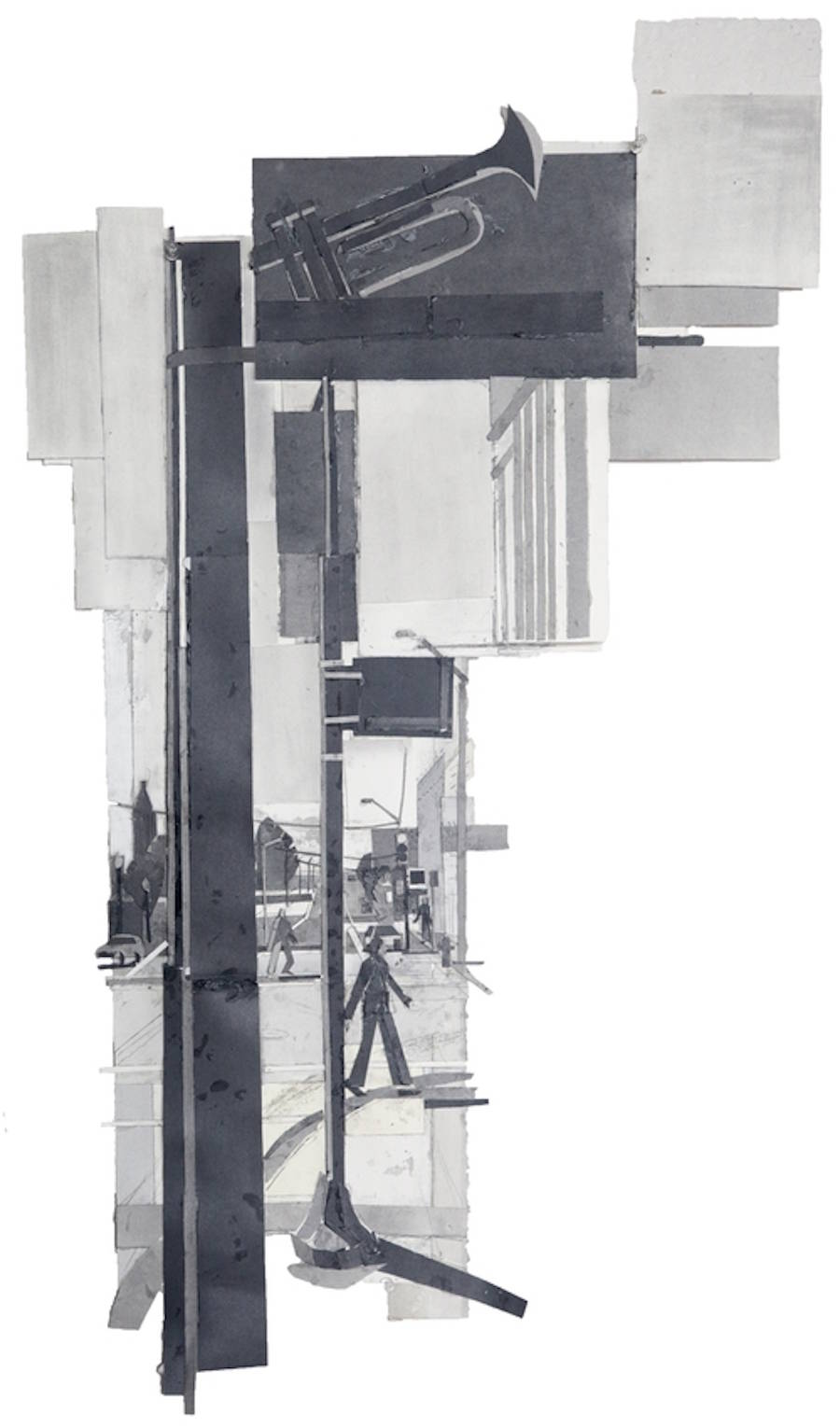 Black and White Collages of Urban Scenes