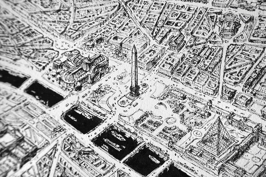 Hyper Detailed Pencil Drawing of Paris