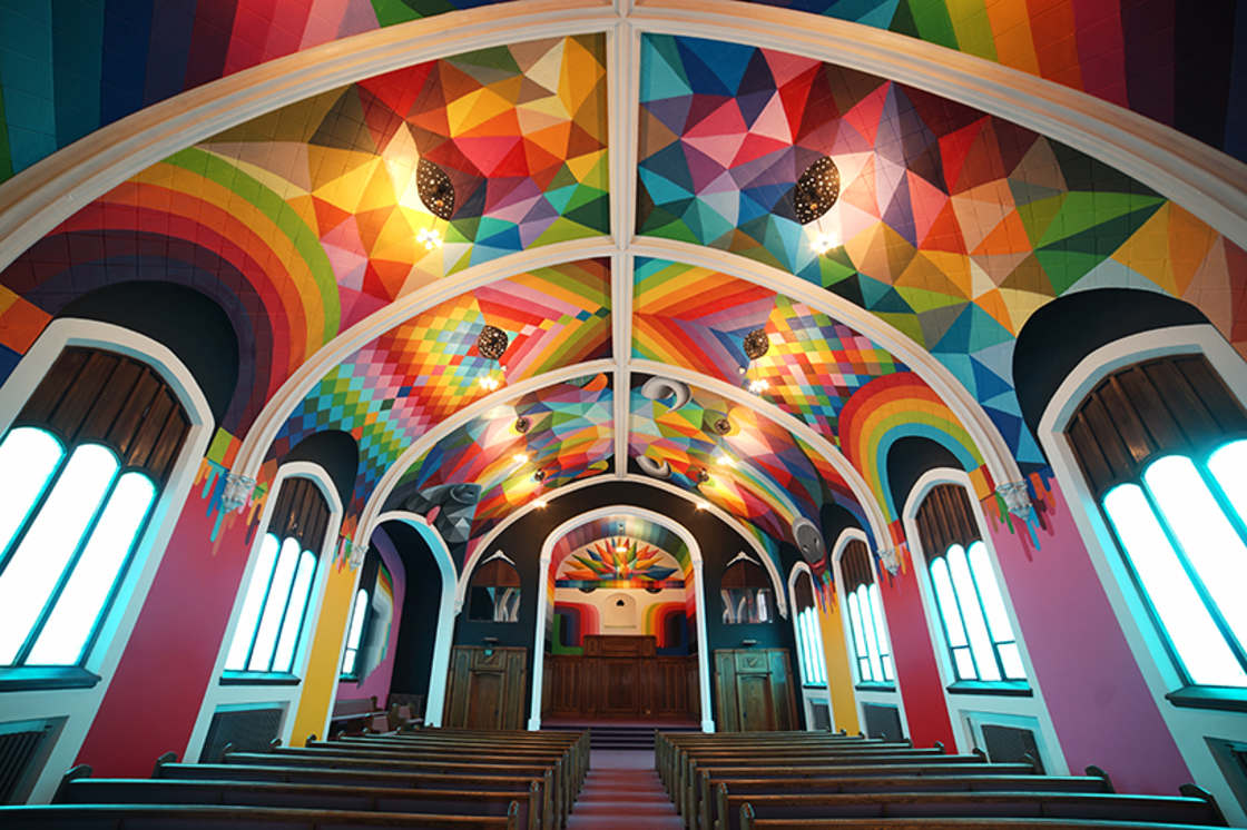 Street Art – Okuda paints a church dedicated to the consumption of cannabis (14 pics)