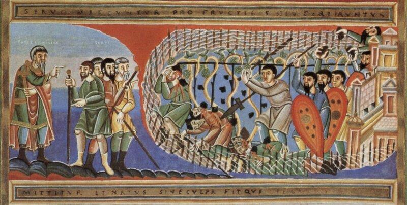Великий Вторник. Притча о злых виноградарях. Книжная миниатюра XI в.еликий Вторник