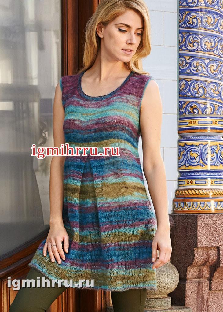 Разноцветное летнее мини-платье со складкой. Вязание спицами