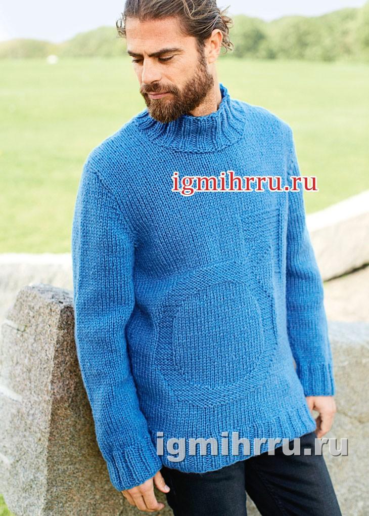 Мужской свитер с рельефным мотивом. Вязание спицами