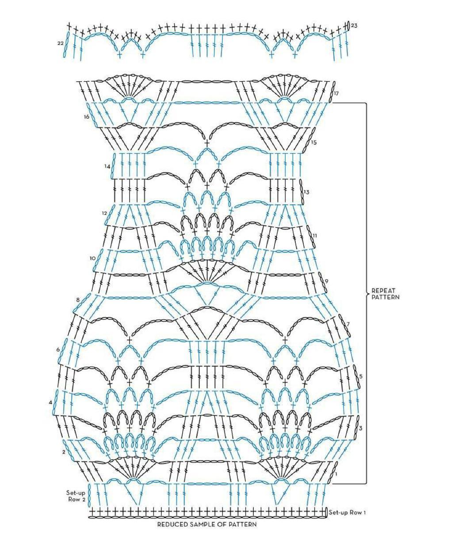 Схема вязания крючком пончо ананасы