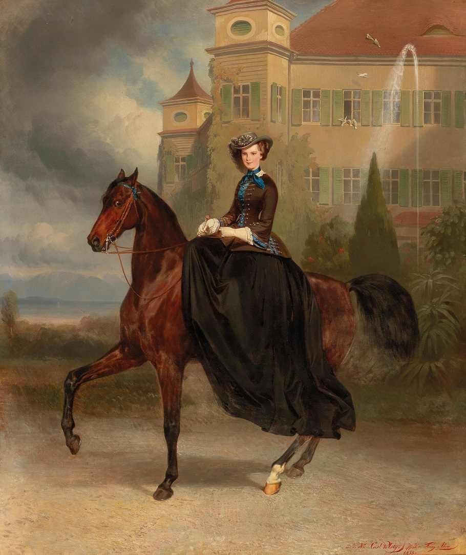 Karl Theodor von Piloty Empress Elisabeth of Austria as bride on horseback in Possenhofen, 1853.Jpeg
