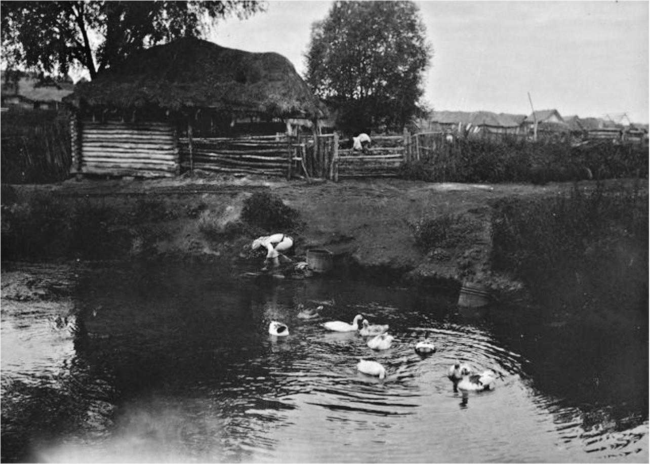 Женщина стирает белье в реке