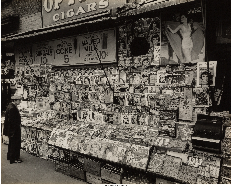 1935. Газетный киоск, угол 32 улицы и Третьей авеню. 19 ноября