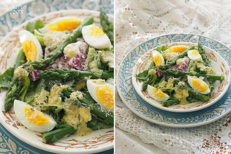 Салат со спаржей, яйцами и соусом из зеленых оливок
