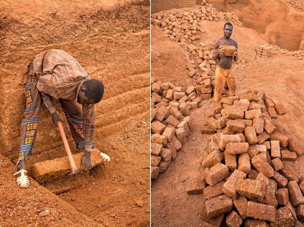 6. Этот карьер в Карабахе, Буркина-Фасо существует почти 30 лет. Рабочие используют только кирк
