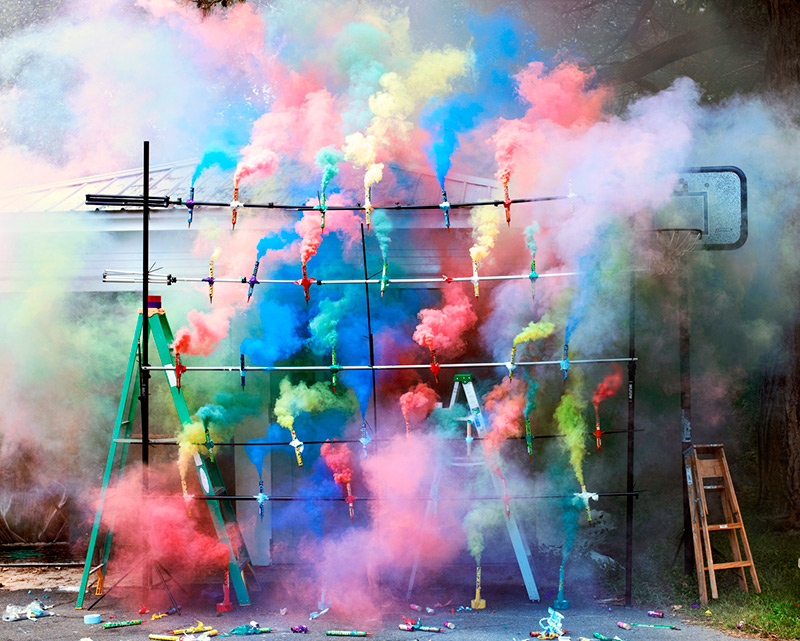 Smoke Bombs 2, 2011 Swiss visual artist Olaf Breuning places no limits on his medium of choice, expr