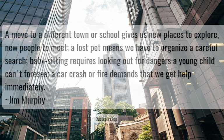 A move to a different town or school gives us new places to explore, new people to meet; a lost pet means we have to organize a careful search; baby-sitting requires looking out for dangers a young child can't foresee; a car crash or fire demands that we get help immediately. ~Jim Murphy