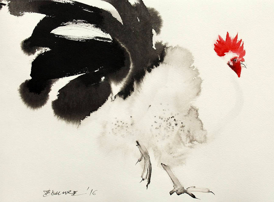 Beautiful Ink Paintings of Chickens