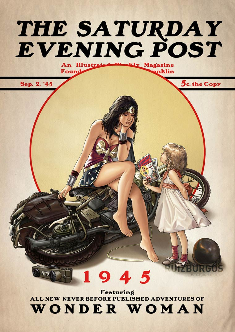Saturday Evening Post - Les super-heros vintage version Norman Rockwell