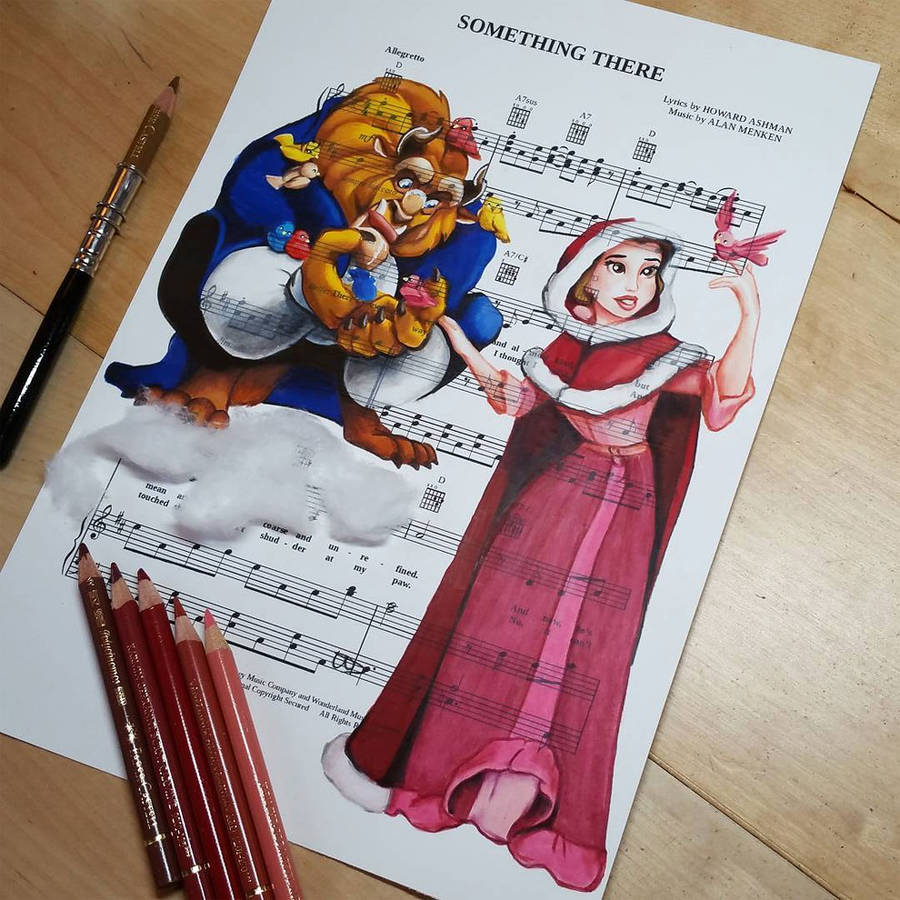 Disney Characters Drawn on Music Paper of The Song of the Movie They Are From