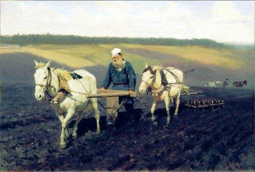 Пахарь. Лев Николаевич Толстой на пашне. 1887. Илья Репин.jpg