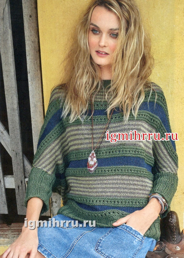 Повседневный пуловер с горизонтальными полосками. Вязание спицами