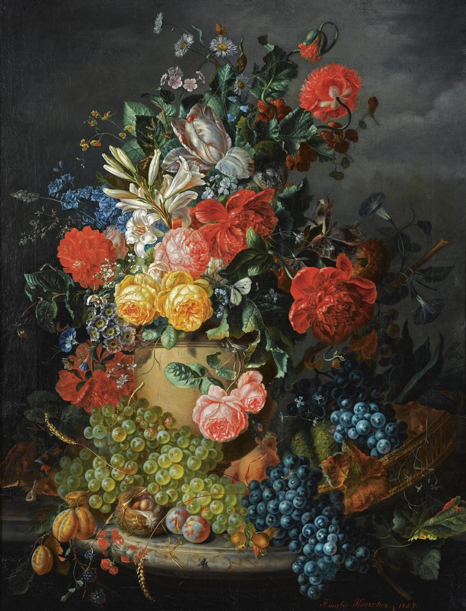 A Flower Still Life with Grapes, 1857.