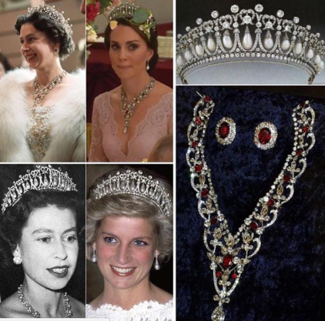 На шее у герцогини было ожерелье самой Королевы, которое родители подарили Елизавете II на свадьбу с