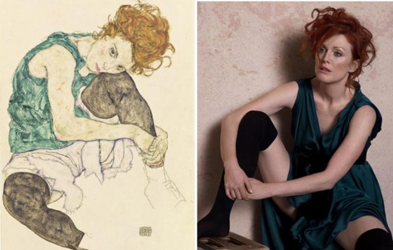 «Сидящая женщина» (1917) Эгона Шиле, в платье Lanvin и чулках Wolford.