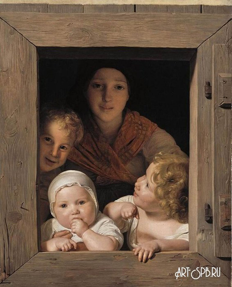 18847.jpgМолодая крестьянка с тремя детьми в окне. Фердинанд Георг Вальдмюллер.jpg
