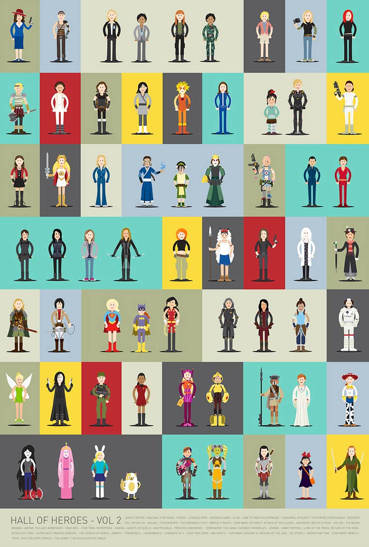 Hall of Heroes – 63 new cults female characters together in a single poster
