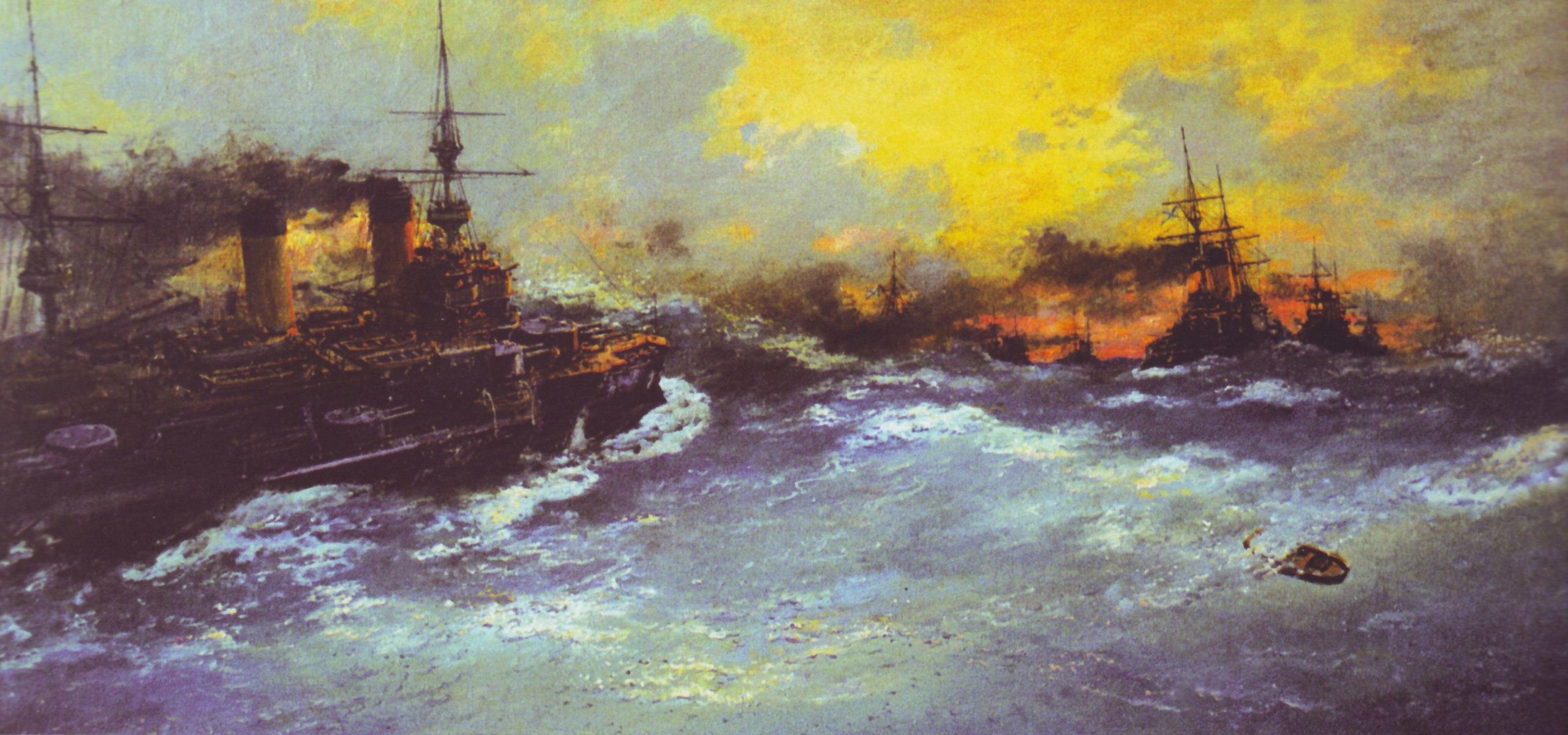 Броненосцы 2-й эскадры Тихого флота на переходе в Индийском океане.jpg