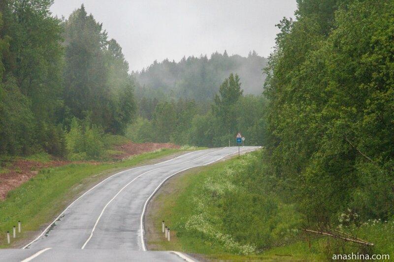 Дорога в дождливый день, трасса А-119
