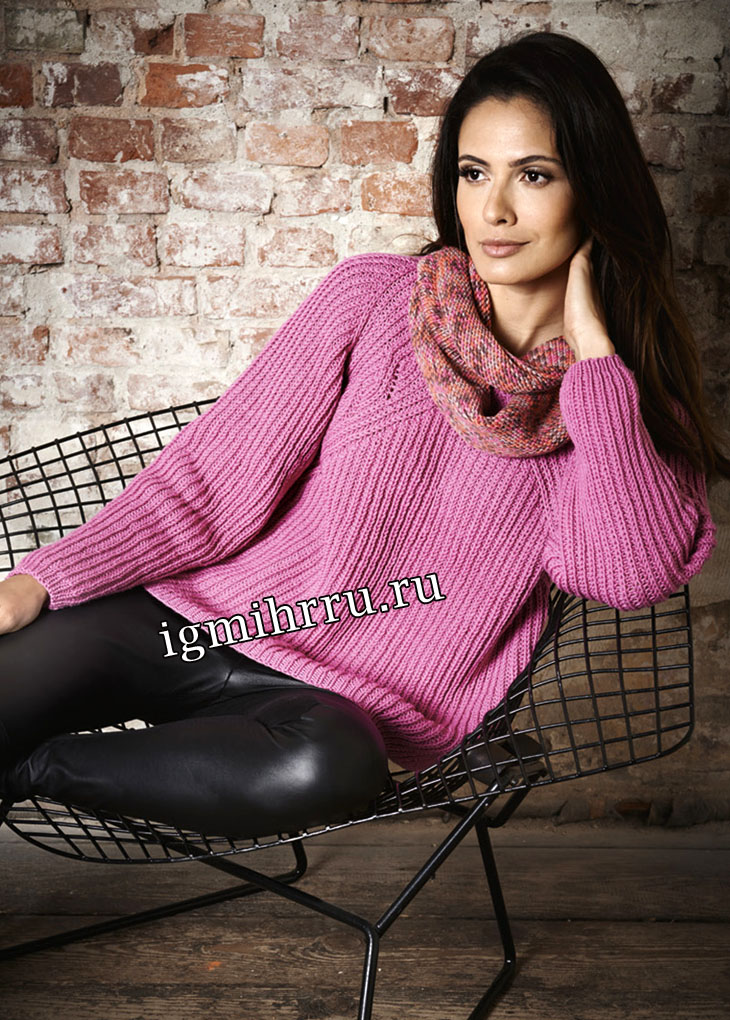 Розовый пуловер-реглан в стиле oversize. Вязание спицами
