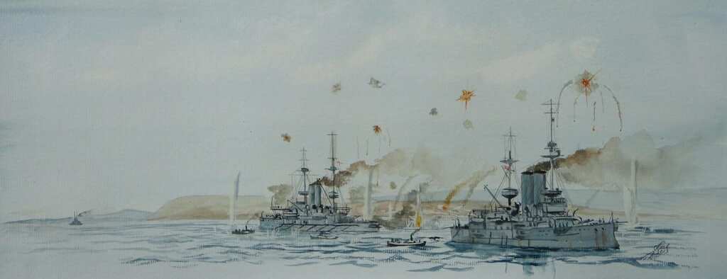 HMS Canopus tows Albion off a sandbank off Gaba Tepe in the Dardanelles, HMS Lord Nelson approaching to assist.