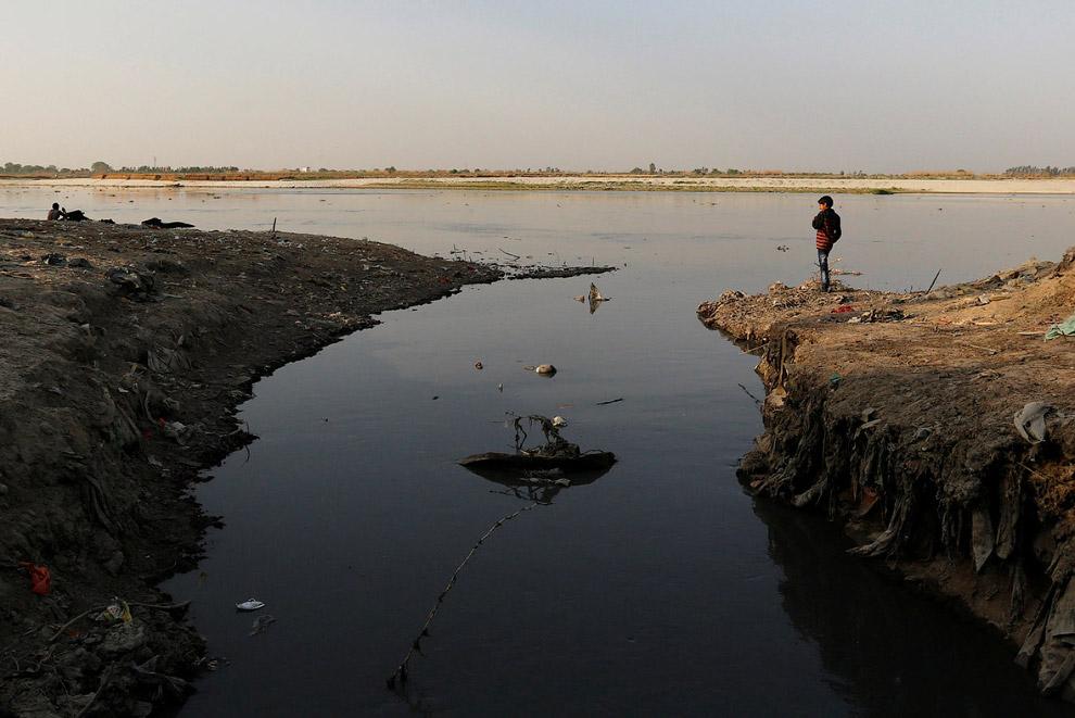 13. Очередной промышленный грязный слив, текущий в Ганг. Козам лучше через него перешагивать. (
