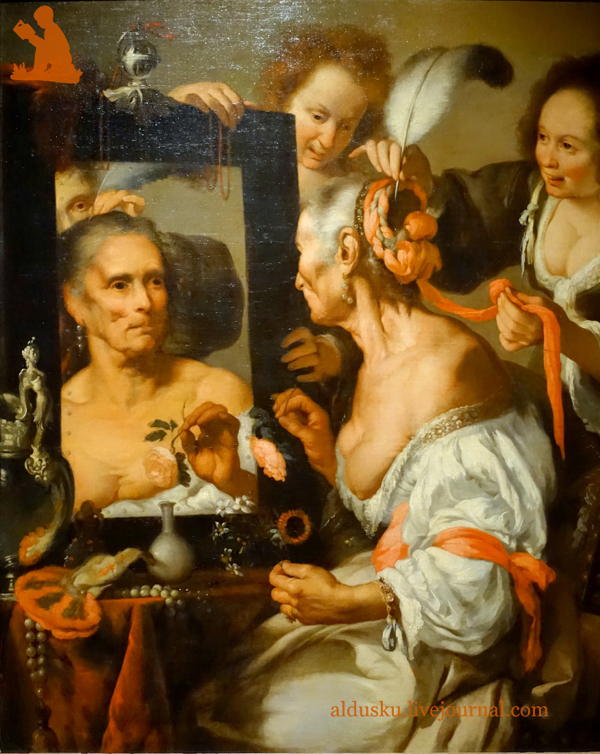 БЕРНАРДО СТРОЦЦИ BERNARDO STROZZI (1581–1644) АЛЛЕГОРИЯ БРЕННОСТИ (СТАРАЯ КОКЕТКА). После 1630. Холст, масло