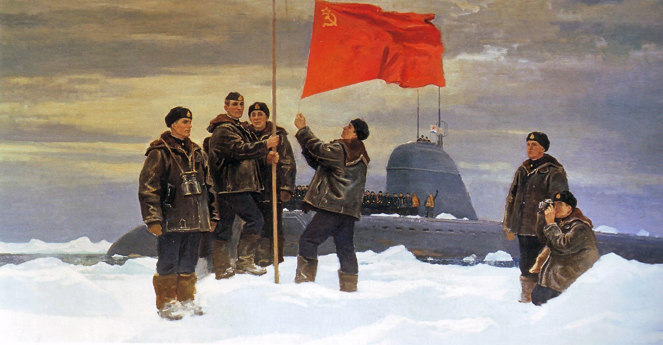 Подъём государственного флага СССР экипажем АПЛ Ленинский комсомол на Северном полюсе. 1985.jpg