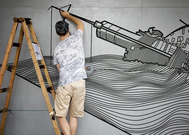 Masking Tape Street Art (10 pics)