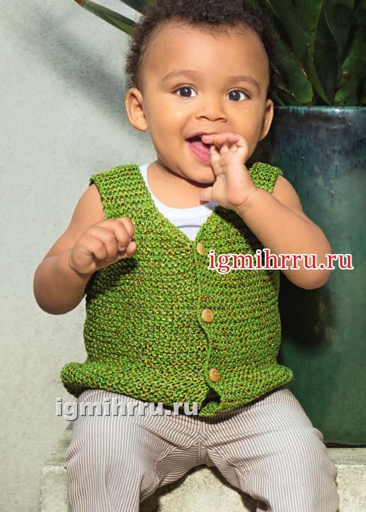 Летний зеленый жилет для малыша 1-15 месяцев. Вязание спицами