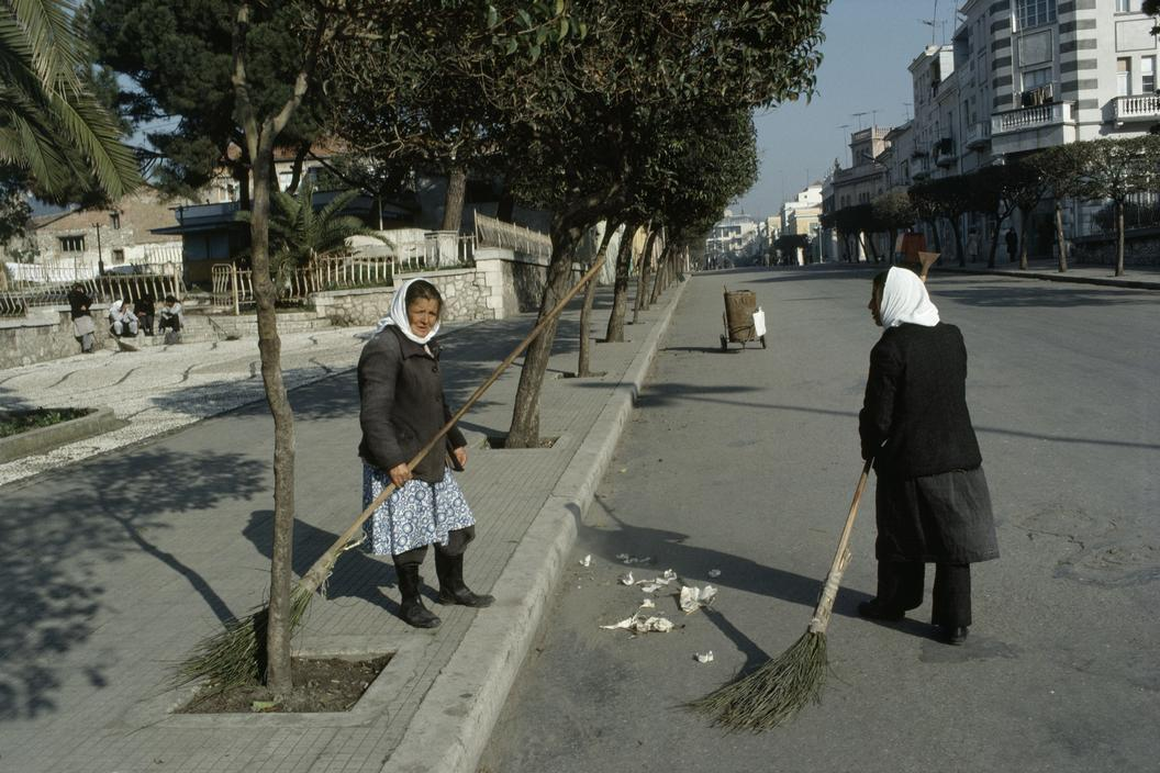 1990 Albania Durres. Female street cleaners.jpg