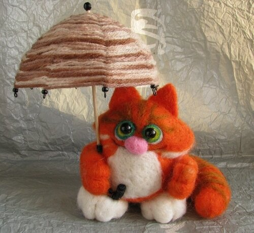 Котик с зонтиком