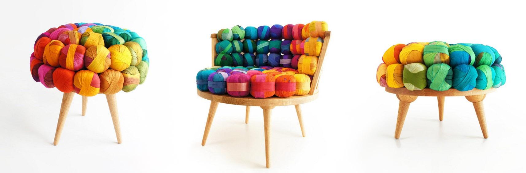 экодизайн мебель, экодизайн, экодизайн фото, стиль печворк, печворк фото, печворк мебель, мебель из мусора, реставрация старых стульев, Родриго Алонсо