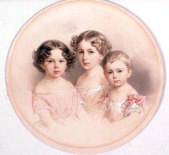Гау. Портрет Марии, Ольги и Евгении Гау, дочерей художника 1850