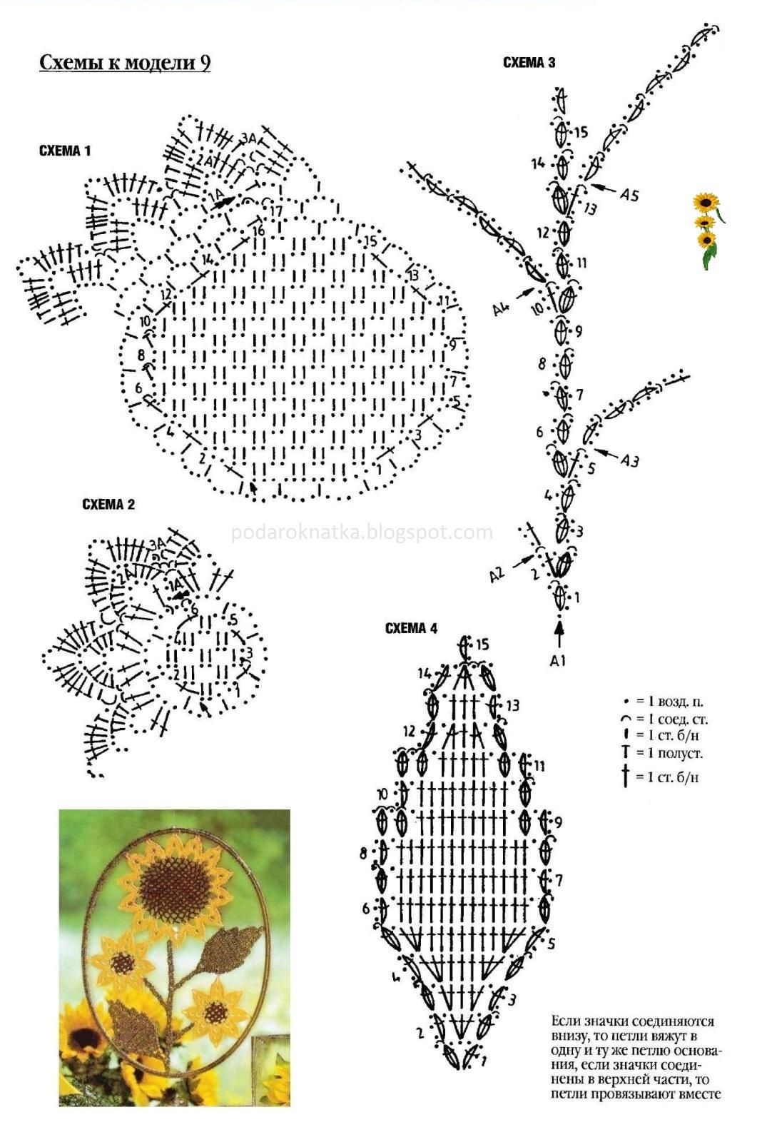 Вязаные цветы и схемы вязания