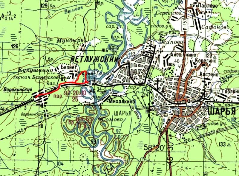 Карта хождений в районе моста через Ветлугу