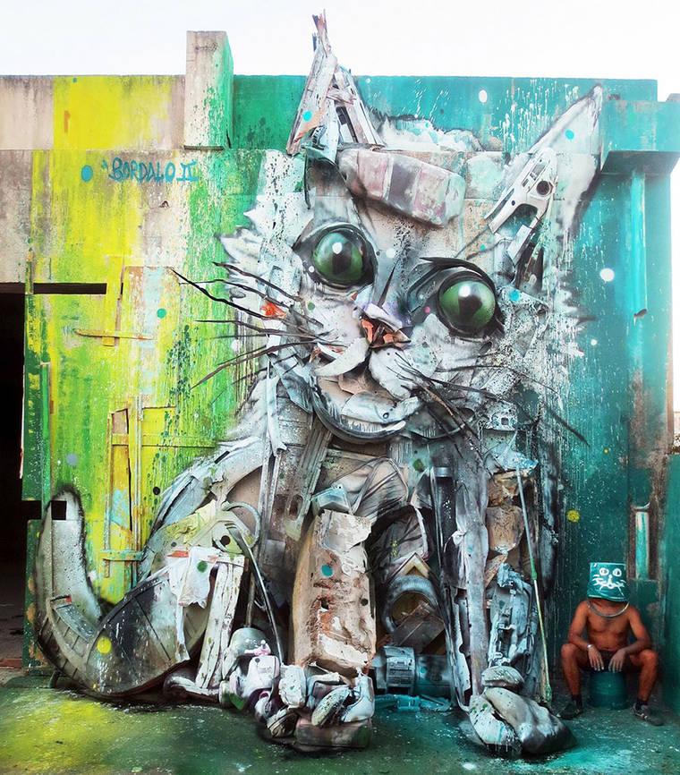 Big Trash Animals - The latest impressive street art creations by Bordalo II