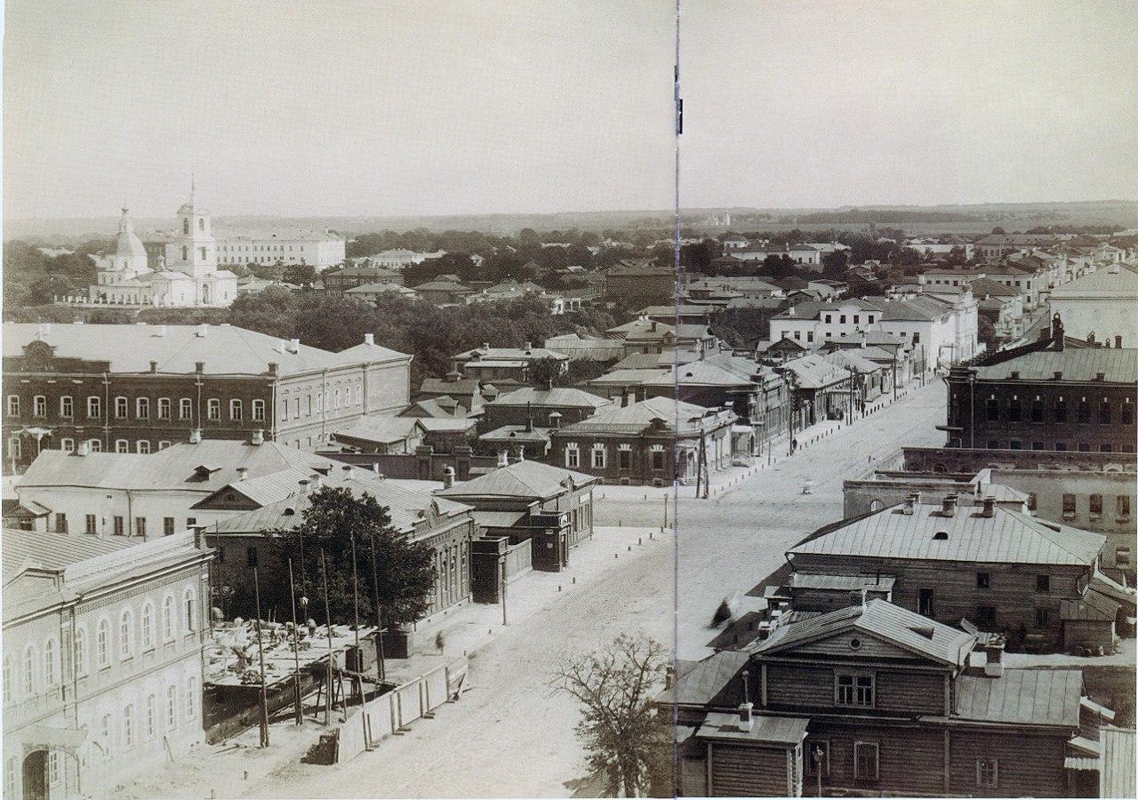 Панорама Рязани. Вид на перекресток улиц Соборной и Астраханской. 1885