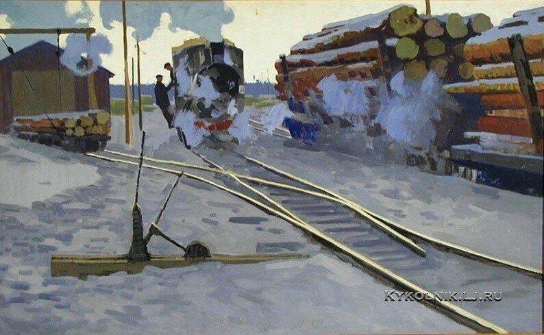 Юнтунен Суло Хейккиевич (1915-1980) «Транспорт леспромхоза» (1964)