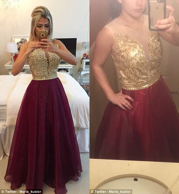 На топе не хватает фурнитуры, а юбка сшита из худшей ткани, чем на левой фотографии.