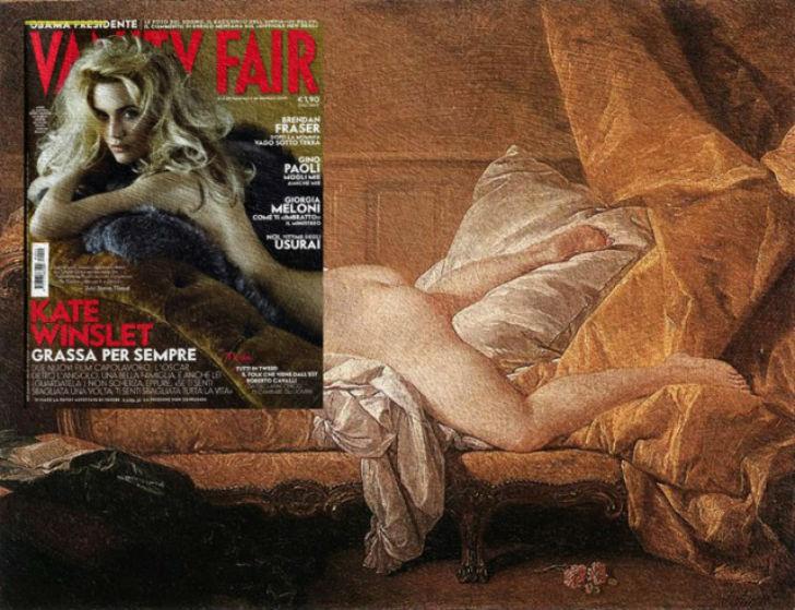 Обложка журнала Vanity Fair с Кейт Уинслет и картина Франсуа Буше «Светловолосая одалиска».