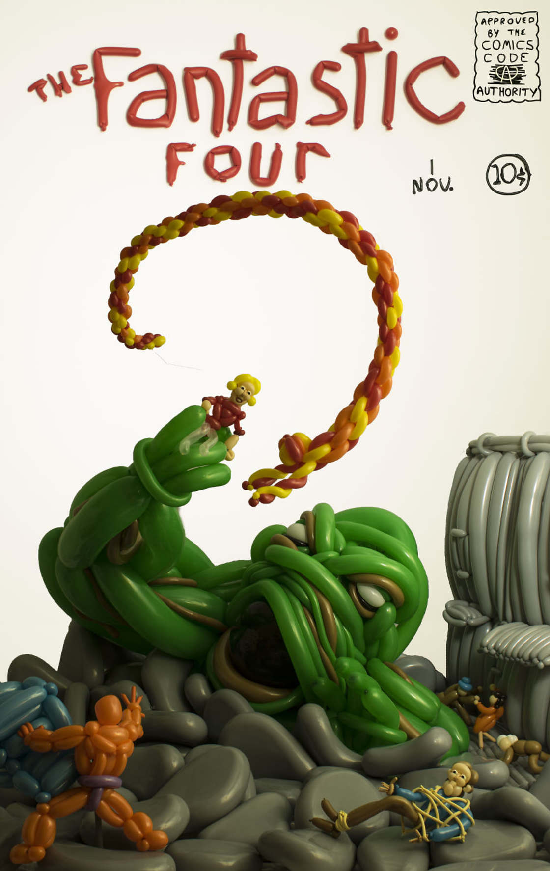 This guy recreates the covers of cult comics with dozens of balloons