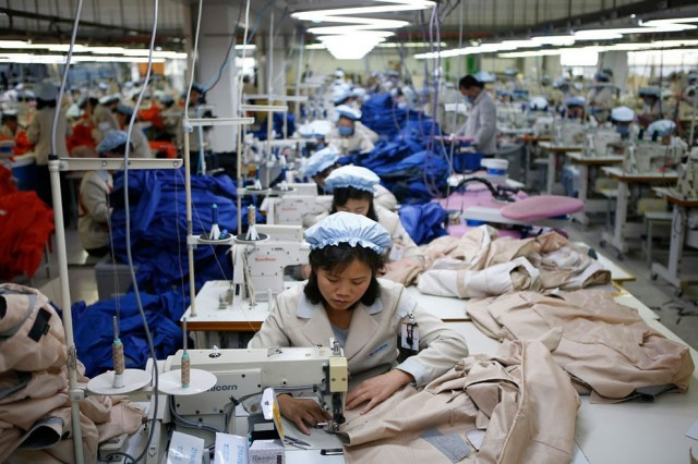 North Korean employees work in a factory of a South Korean company at the Joint Industrial Park in K