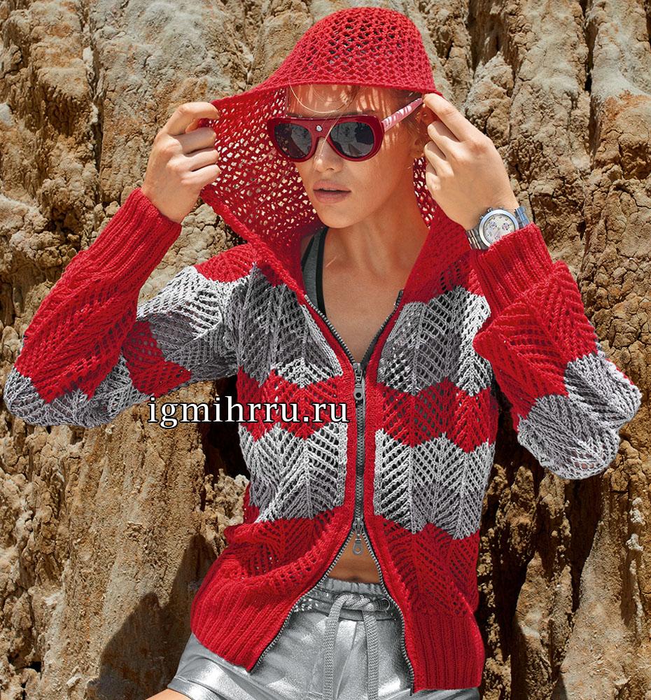 Красно-серая куртка с капюшоном и на застежке-молнии. Вязание спицами